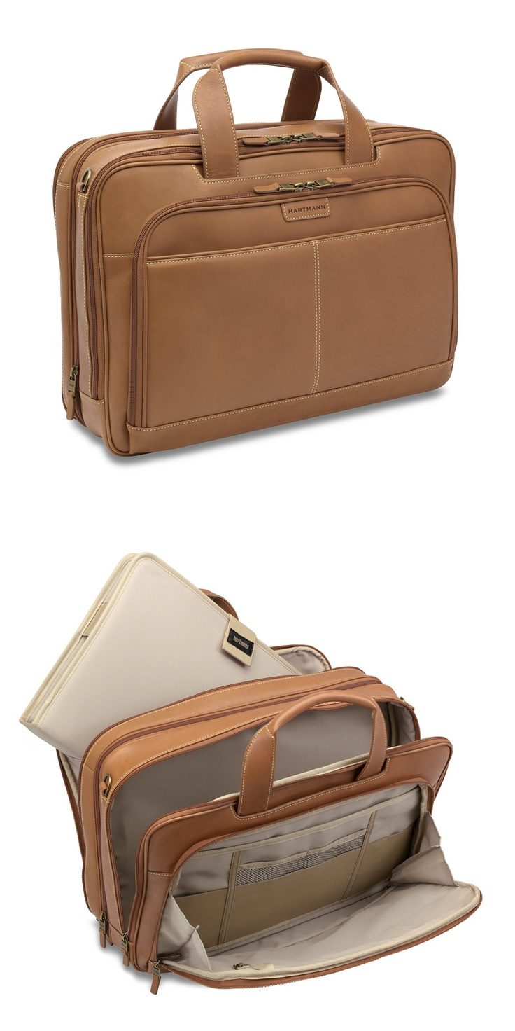 """J Hartmann Reserve Belting Leather Expandable Double Compartment Brief   xpands 2.25"""" for additional packing space. Large gusseted front zip pocket with interior organization panel, key clip and rear zip pocket; front slash pocket around handle features cell phone pocket. Front compartment has large mesh zip pocket and removable computer protection system large enough to accommodate most 17"""" laptops."""
