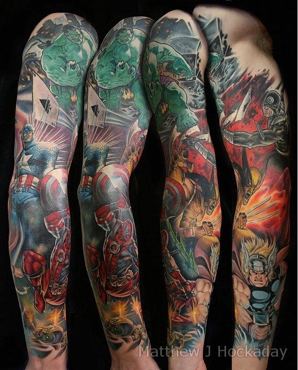 marvel superheroes sleeve tattoo tattoo pinterest awesome tattoos sleeve and awesome. Black Bedroom Furniture Sets. Home Design Ideas