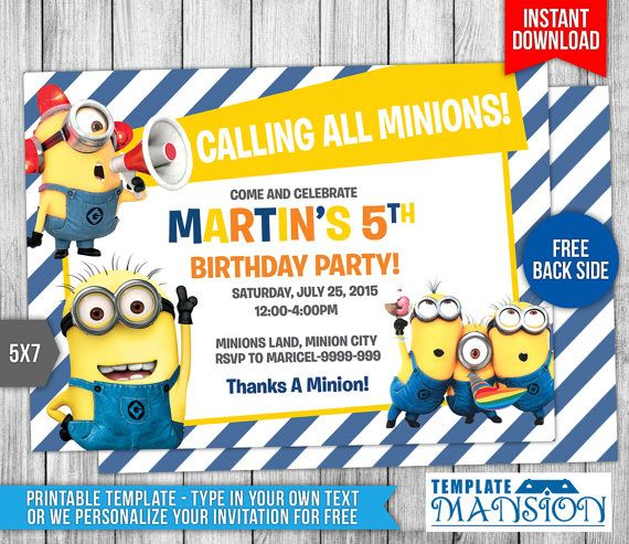 This Instant Download is for a Minions Birthday Invitation. You have (2)Two Options. First Option is we can personalize your invitation for FREE