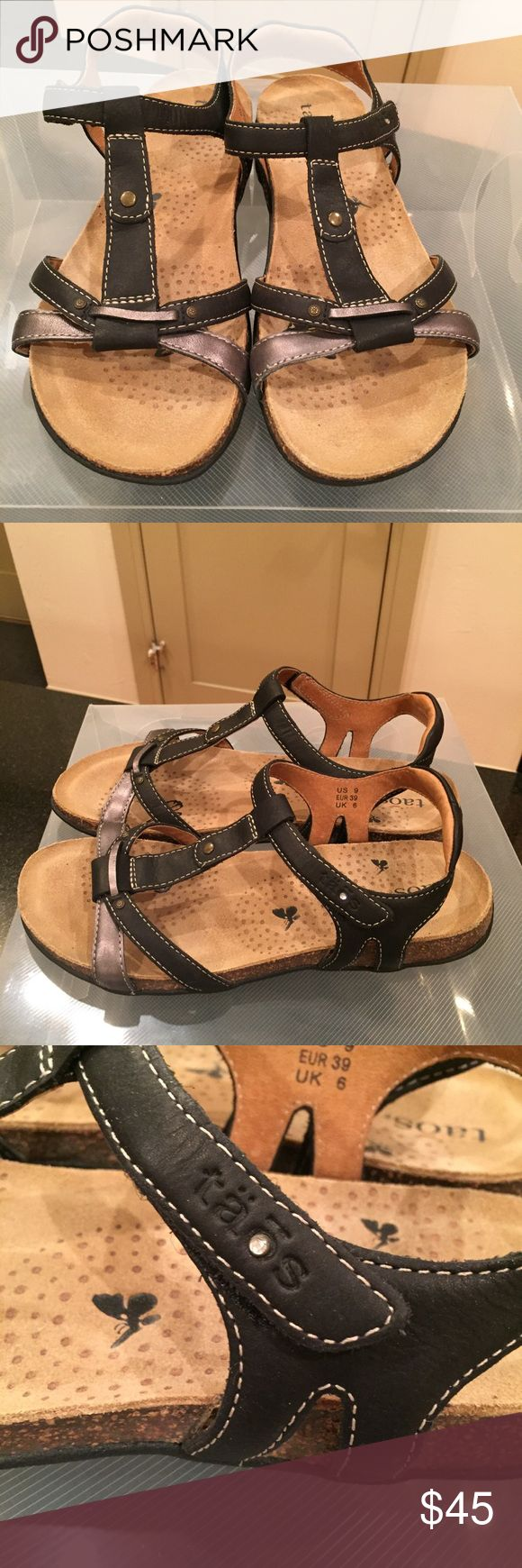 TAOS Leather black & pewter sandals in size 9 EUC! These are so cute but they're a bit too big for me.  I've worn them once.  Leather Black & Gray TAOS sandals with super comfortable sole & a bit of padding on the back ankle strap.  My mistake size could be just right for you!  They have a super easy velcro closing that doesn't look velcrowy;)  Thanks for looking at my auction! Taos Footwear Shoes Sandals