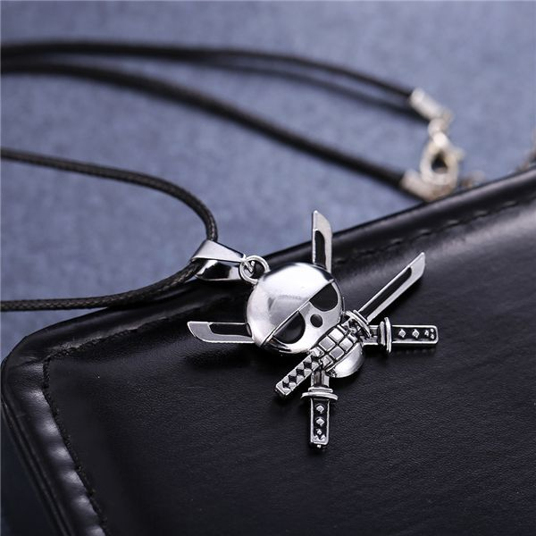 MOONSOUL hot anime One piece Roronoa Zoro Skeleton skull metal male necklace silver plating pendant necklace. Click visit to buy #PendantNeklace