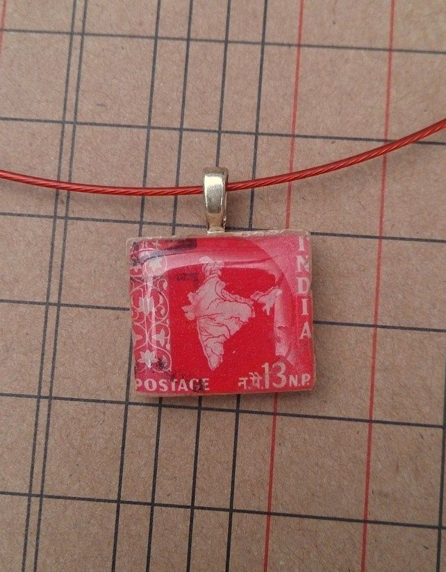 Postage Stamp, resin and letter tile necklace India £6.00