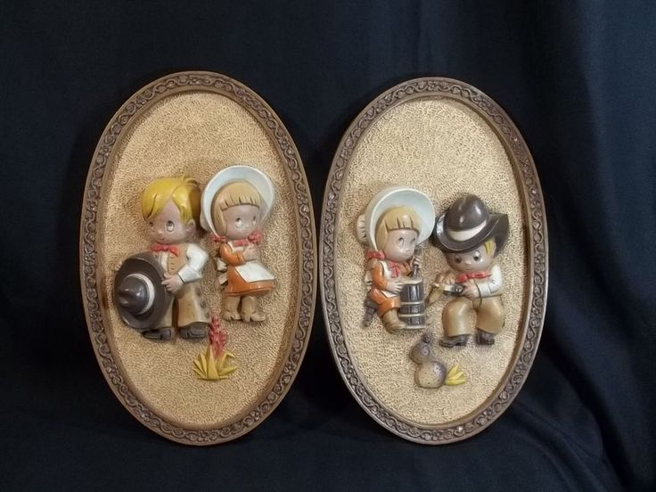 Vintage Cowboy Girl Wall Decor Homco Childrens Room Lot of 2 Oval #Homco