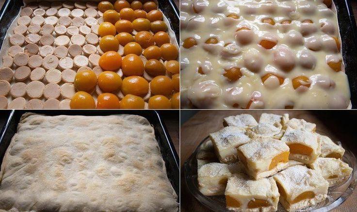 Elkészítése: 1 csomag leveles tészta ,felét kisodorjuk és tepsibe rakjuk,majd rárakunk szorosan babapiskótát (gömbölyűt),erre barackkompótot ,utánna főzünk 1 liter tejből vaníliás pudingot ,(2 zacskó pudingpor) ráöntjük a barackra ,...