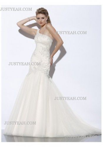 Trumpet applique one-shoulder Wedding Dresses 2016