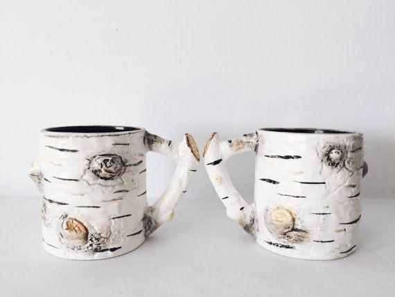 Vintage Ceramic Birch Bark Coffee Mug set 2 by NewtoKassidy