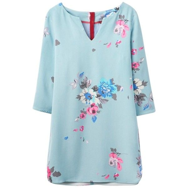 Women's Joules Eva Woven Tunic (4.560 RUB) ❤ liked on Polyvore featuring tops, tunics, blue floral top, three quarter sleeve tops, 3/4 sleeve tops, floral 3/4 sleeve top and joules tops