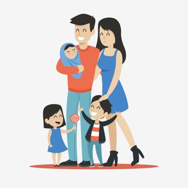 Familia Feliz Con Dos Hijos Graficos De Dibujos Animados Vector De Stock Familia Feliz Dibujo Imagenes De Familias Felices Caricaturas De Ninos