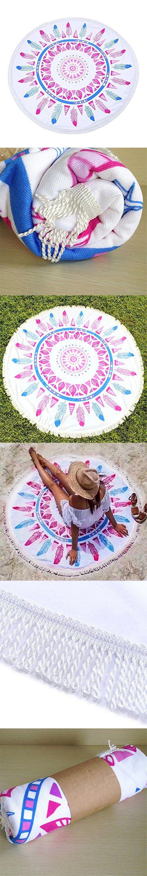 Beach Towel Round Yoga Mat Missingift Beach Throw Round Thick Table Cover Tapestry Hippy Boho Gypsy Mandala Tablecloth Picnic Roundies Shawl (Pink)
