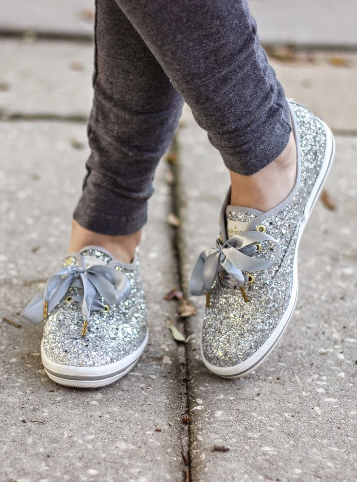 Kelly Elizabeth Style: Skinny Sweats and Glitter Shoes - skinny sweatpants: Target; silver glitter shoes: Kate Spade for Keds