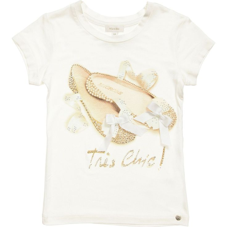 Girls Ivory Shoe Print T-Shirt, Microbe by Miss Grant, Girl