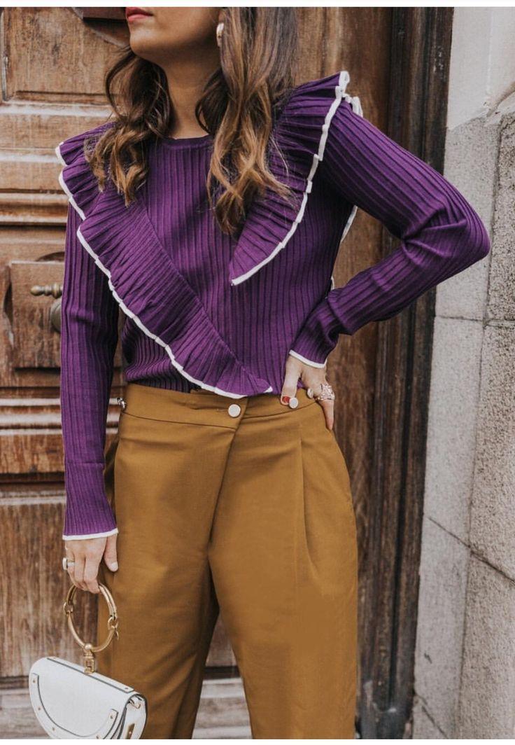CASUAL, rust colored pants, chino pants, purple sweater, ruffled purple sweater, ruffles on a sweater