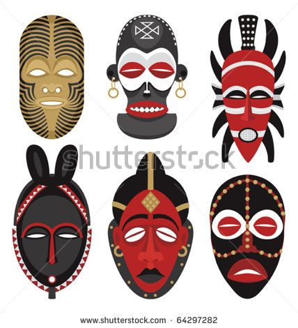 African Masks 2: Six African masks. No transparency and gradients used.