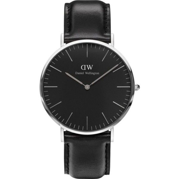 Daniel Wellington Classic Sheffield stainless steel watch ($170) ❤ liked on Polyvore featuring jewelry, watches, stainless steel wrist watch, black dial watches, quartz movement watches, daniel wellington watches and stainless steel jewelry