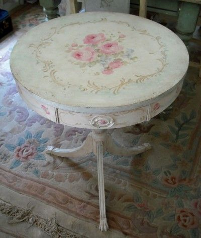 Antique Hand Painted Table by Debi Coules by imartsy