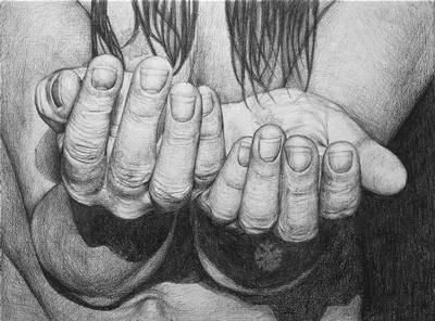 Slipping 1  by Gry Hege Rinaldo. Pencil on mdf-board.