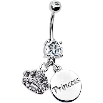"Cubic Zirconia Crown Princess Belly Ring    Showcase your royal side with this princess crown belly ring. Clear prong set belly ring with a dangling silver crown outlined in sparkling clear cubic zirconia gems and a circular pendant that says princess.    Specifications: 14 Gauge (1.6mm), 3/8"" (10mm), 316L Surgical Grade Stainless Steel, Cubic Zirconia, 5mm Ball"