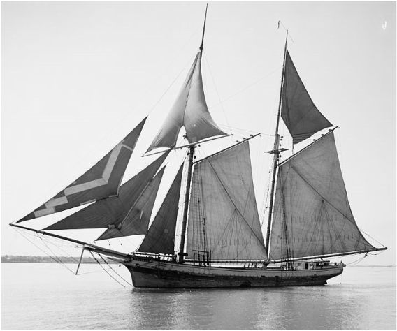 A photo of the Kate Kelly a two masted lake schooner near Racine Harbor entrance in 1880 - Racine, Wisconsin.