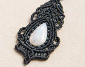 Collana in macramè con pietra di luna naturale pietra Semi preziosi gioielli, blu, bianco, regalo, damigella d'onore, elegante, bohemien, ha detto, rococò