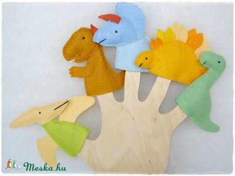 Filc ujjbáb csomag - Dínó kölykök, Baba-mama-gyerek, Játék, Baba-mama kellék, Báb, Meska