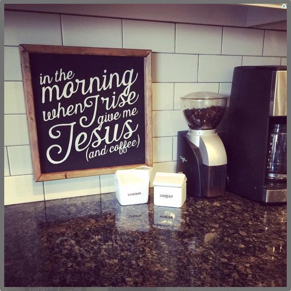 Coffee & Jesus sign by OneLittleOwlBoutique on Etsy