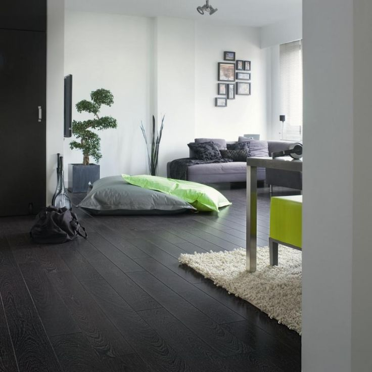 Dark Grey Laminate Flooring For Modern Living Room