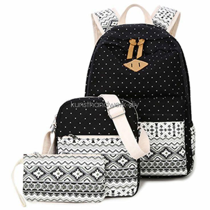Details über 3pcs / set rucksack frauen leinwand reise bookbags schultaschen für mädchen im teenageralter kus