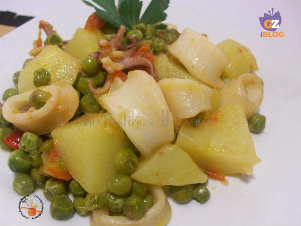Calamari in umido con patate e piselli - ricetta gustosa