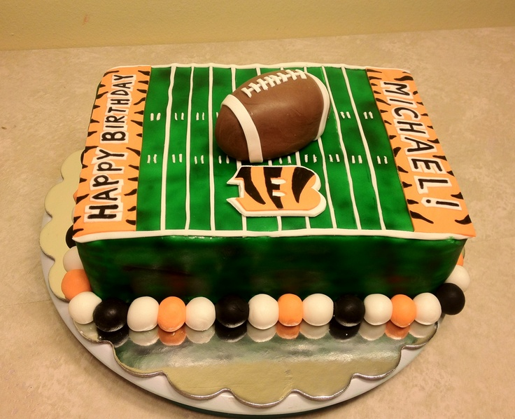 Chocolate Raspberry Cake Decoration : Cincinnati Bengals birthday cake - White velvet butter ...
