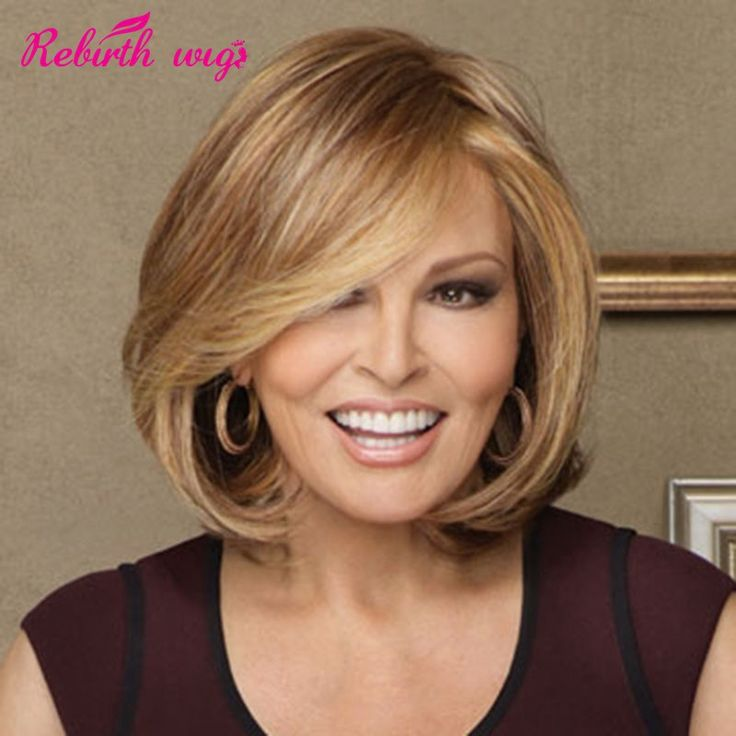 2015 Medium length long BOB wigs Synthetic hair wigs natural straigh blonde wigs for women lady Full wigs with Side bangs peruca