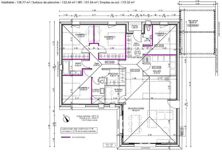 Plan version 4 Plans Maisons Pinterest House - comment calculer surface habitable maison