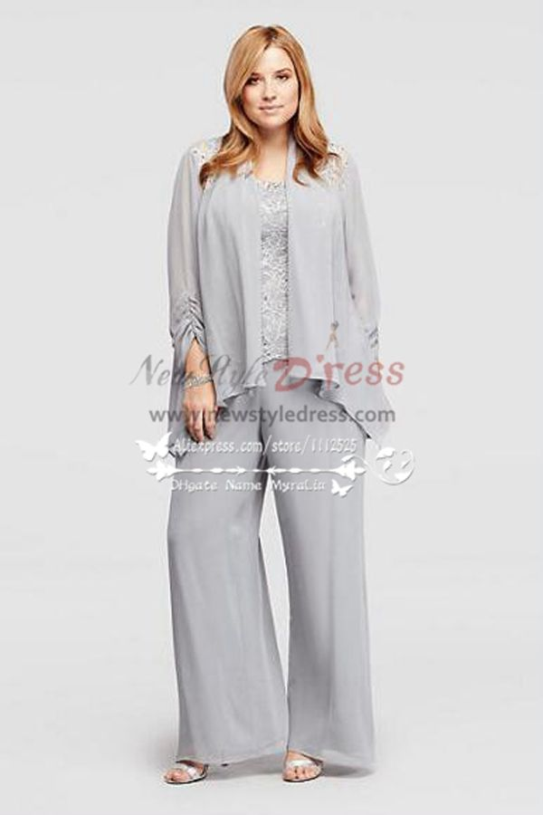 Silver Chiffon Mother Of The Bride Pant Suits With Jacket Wedding Trousers Set Nmo 269