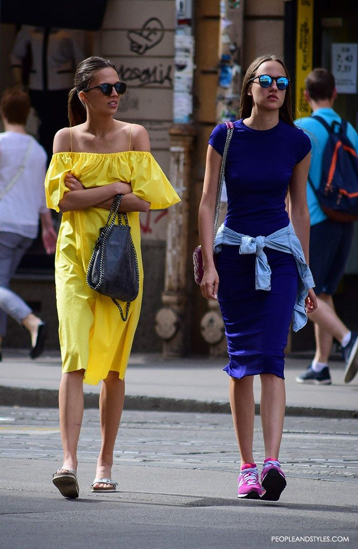 There is something about off the shoulder dresses in yellow color...
