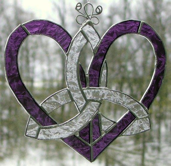 Stained Glass Suncatcher-Mothers Heart Celtic Knot-Purple Lace via Etsy