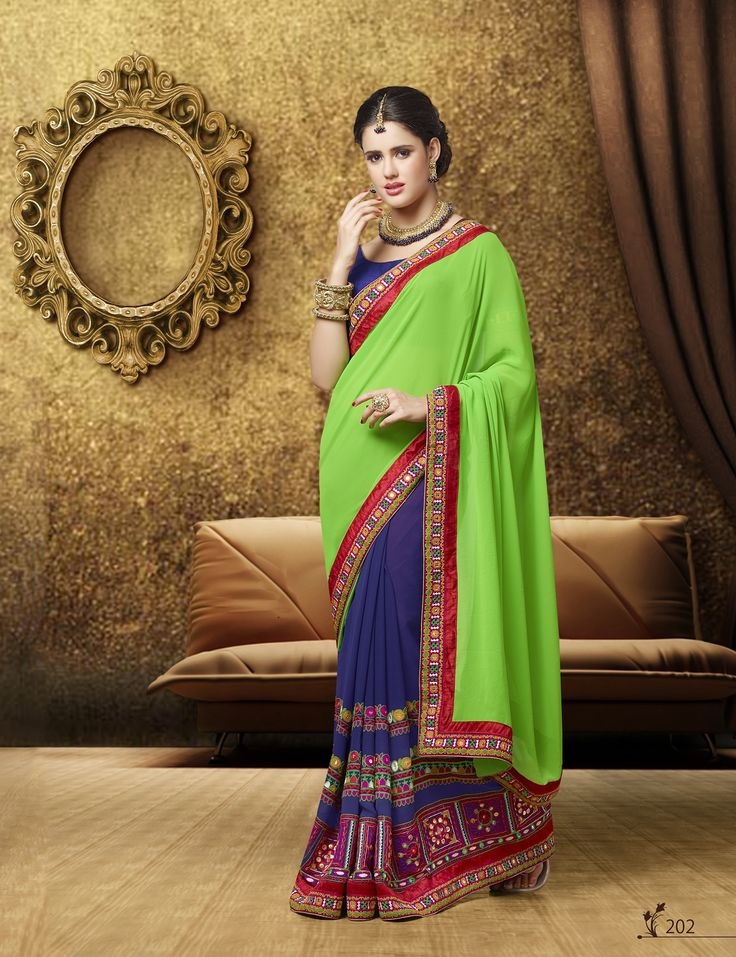 """Bellastiles Presents:-""""Kessi-Devika-Sarees""""  Fabric Details:-Georgette Half, Half Embroidered work Designer Saree, Row Silk Blouse To place #Orders : (#USA):610-616-4565, 610-994-1713; (#India):99-20-434261; E-MAIL:market@bellastiles.com, wholesale@bellastiles.com  #bellastiles #Bella #Stiles #DesignerSarees #Sarees #DesignerWear #Fashion #OnlineShopping #Sale #Discounts #FreeShipping #eCommerce #EthnicCOllections"""