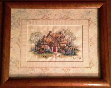 Completed Cross Stitch in Frame Serene Cottage by dannileifer, $24.99