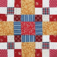 """Four-Ever Nines - Bonnie Hunter Bust your stash of strips.  Instructions to make the 8"""" Four-Ever Nines block can be found in Bonnie Hunter's Addicted to Scraps column in the July/August '12 issue of Quiltmaker."""