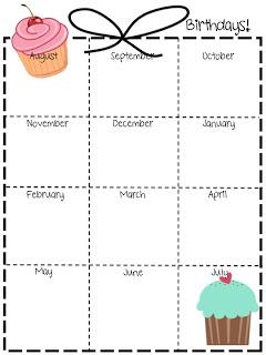 Birthday calendar for yw bdays