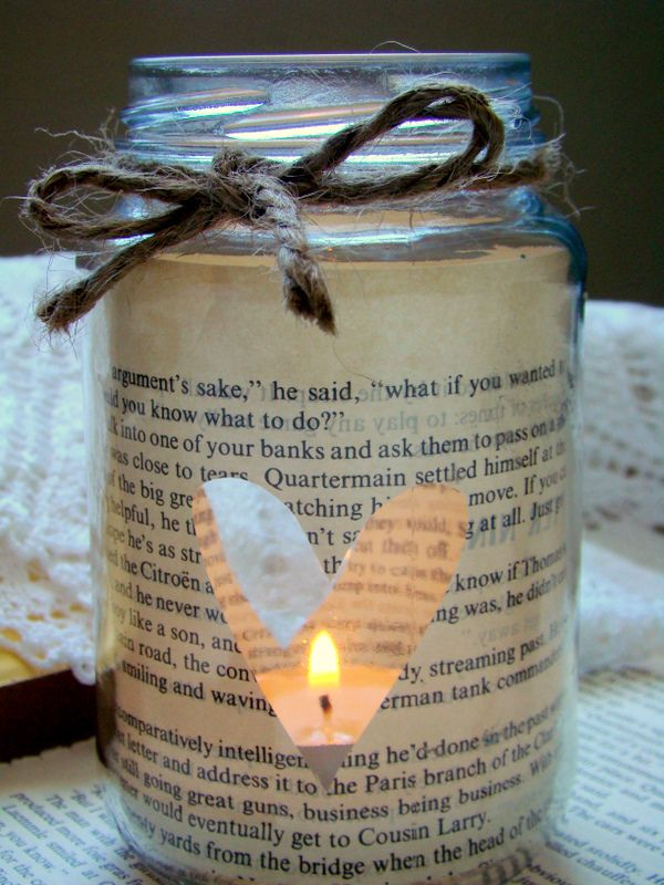 DIY candle holder with book pages attached to inside =] Or put favorite quote on cream paper and use instead! Also so similar at Anthropologie with multicolored paint dripped inside!