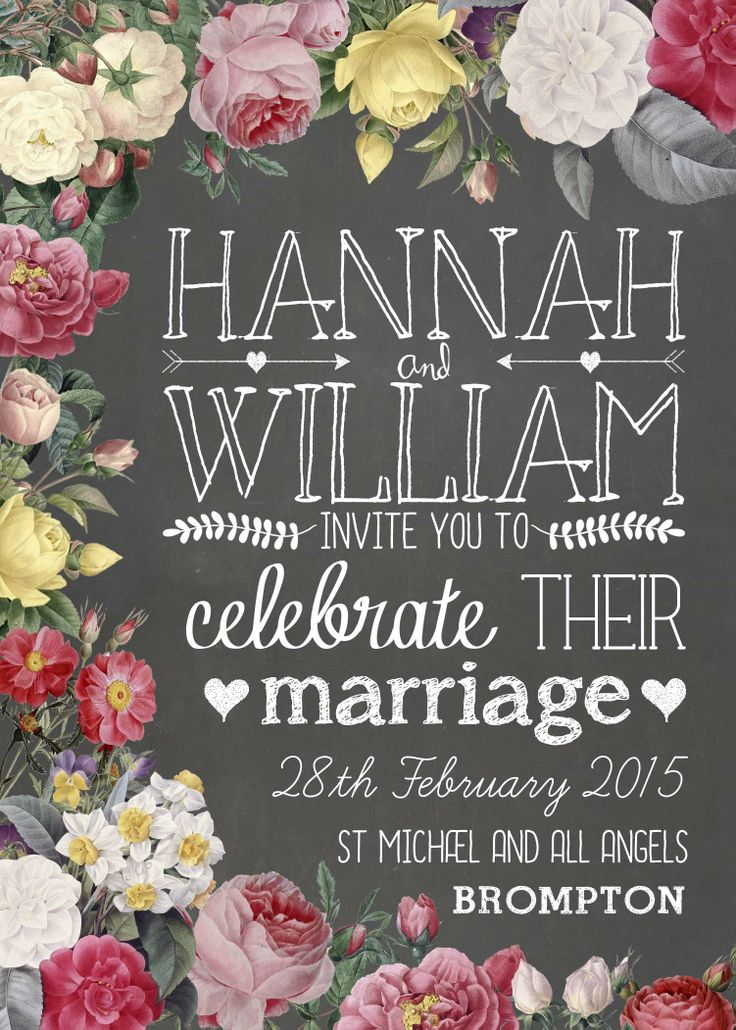 Floral Chalkboard Invitation  Chalkboard Wedding Stationery designed by Swoon At The Moon
