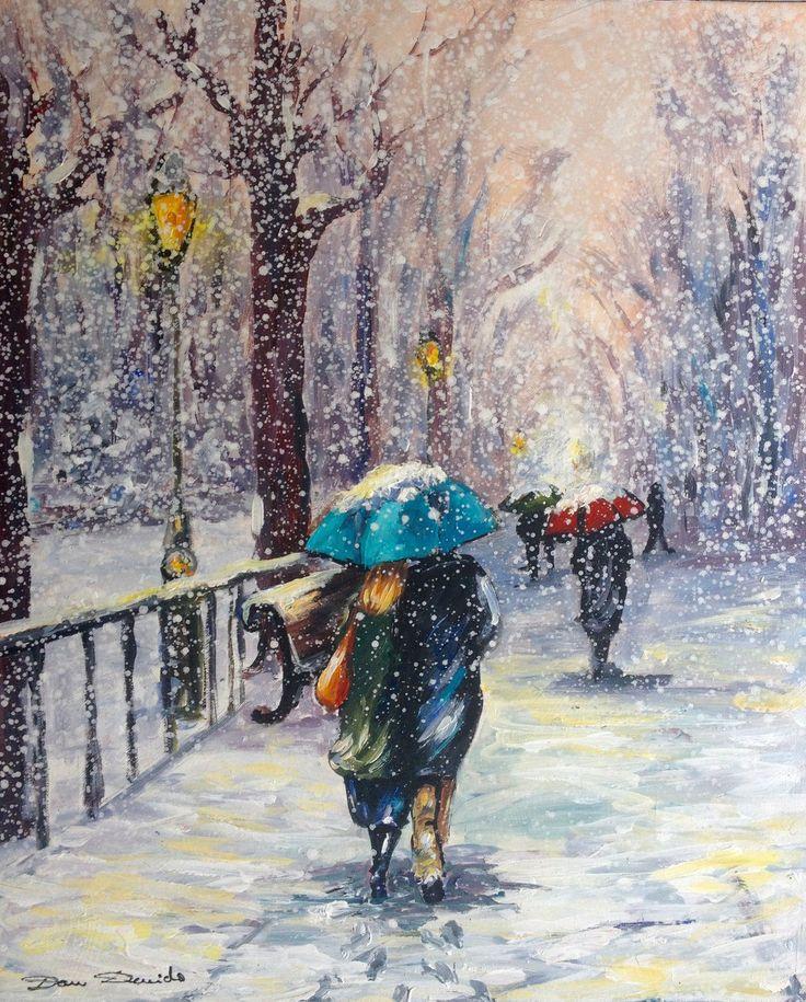 26 best paysages de neige par dam domido images on pinterest paisajes oil on canvas and oil - Peinture facile a reproduire ...