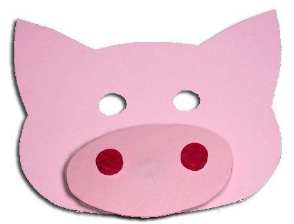 masque de cochon en papier - Tête à modeler