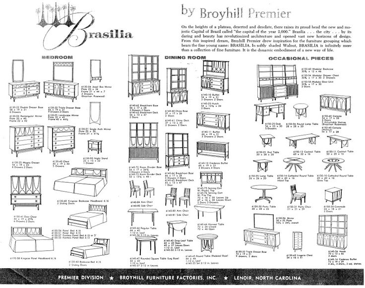 The original catalogue Broyhill Brasilia line. The Brasilia line of furniture was inspired by the architecture Broyhill admired in Brasil, most notably the parabolic arches of Oscar Niemeyer.