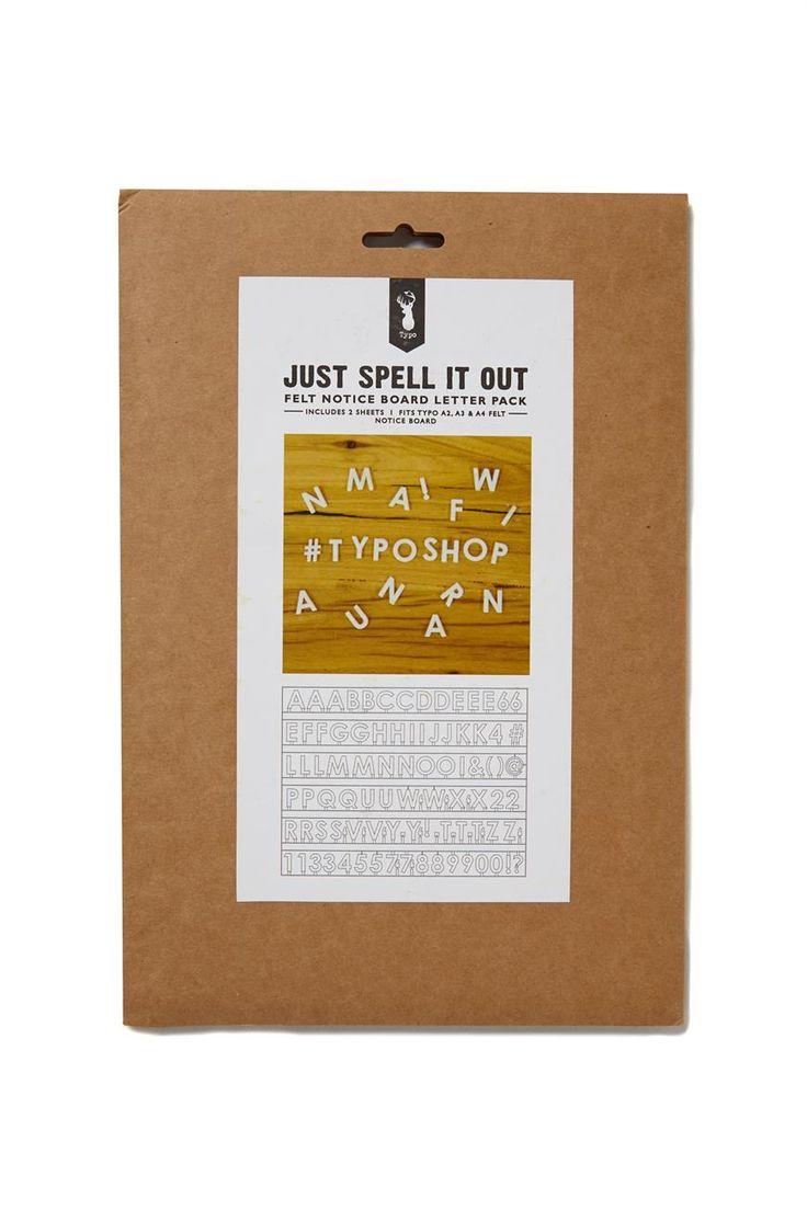 felt notice board letter pack | Typo
