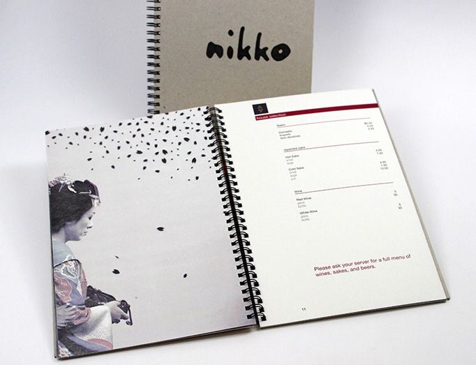 Another cultural menu putting emphasis on Japanese art. I really, really like the image and menu blocking, but I'm really iffy on spiral binding...they always break when mishandled.