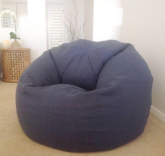 Bean Bag Linen Designer Bean Bag Cover Blue Linen White