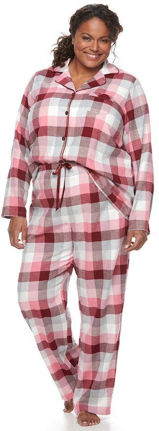 Croft & Barrow Plus Size Pajamas: Flannel Top & Pants 2-Piece PJ Set