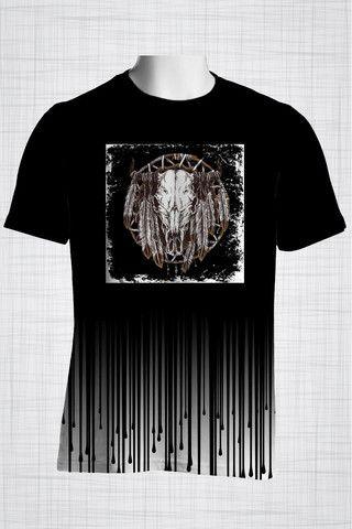Plus Size Men's Clothing Black Bull Skull t-shirt