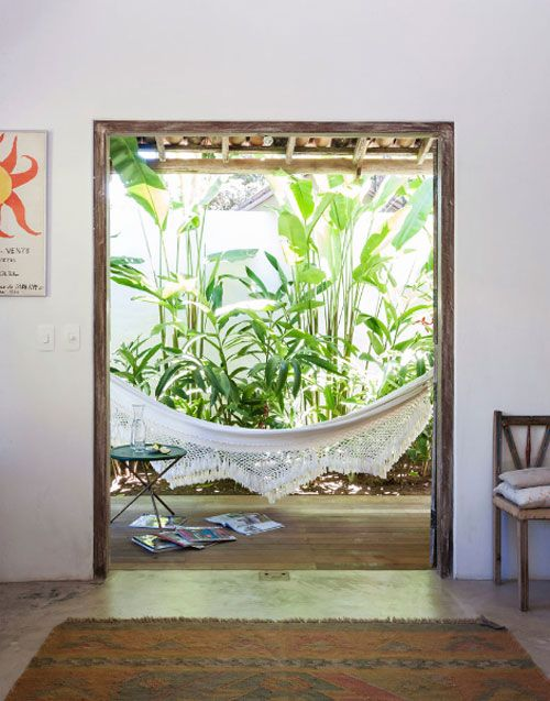 YES! I love the room with the hammock and the tropical plants :A BEAUTIFUL BEACH HOUSE IN BRAZIL | the style files
