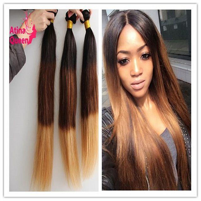 8A Indian Virgin Hair Ombre Hair Extensions 1B 4 27 Ombre Human Hair Bundles 3 Pcs/lot Indian Straight Bundles Weave Three Tone